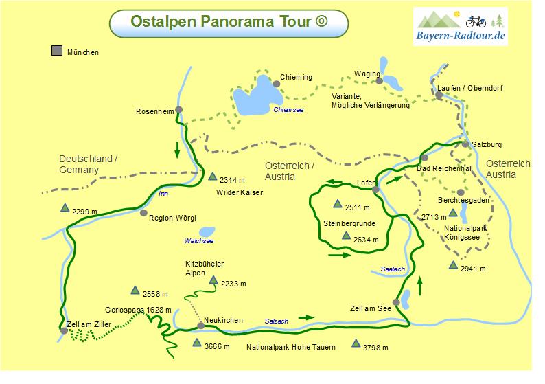 Karte Ostalpen Panoramatour