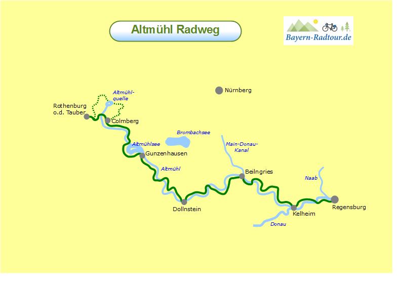 altmühlradweg karte Karte Altmühl Radweg   Bayern Radtour