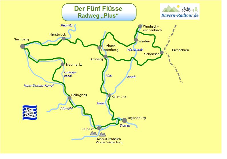 Bayern Karte Flüsse.Karte Fünf Flüsse Radweg Plus Bayern Radtour