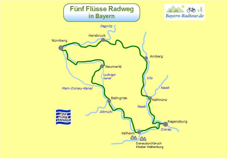 Bayern Karte Flüsse.Karte Fünf Flüsse Radweg Bayern Radtour