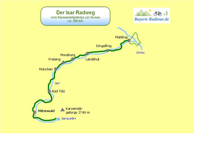 Karte Isar Radweg