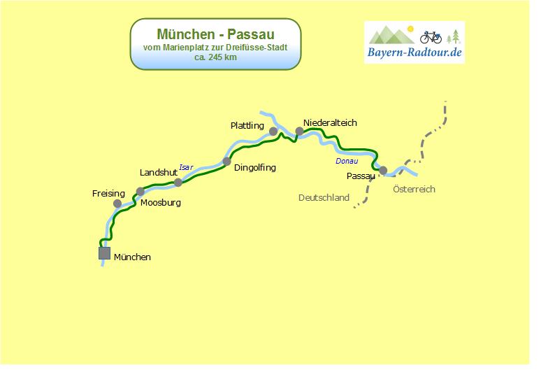 München Karte Deutschland.Karte München Passau Bayern Radtour