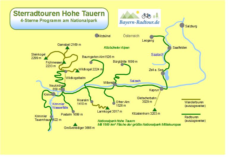 Hohe Tauern Karte.Karte Sternradtouren Hohe Tauern Bayern Radtour