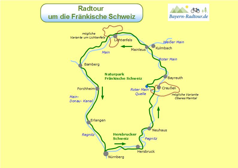 Fränkische Schweiz Karte.Karte Fraenkische Schweiz Runde Neue Website Bayern Radtour